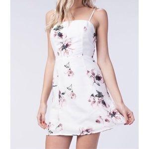White Floral Mini Dress with Spaghetti straps